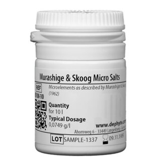 Murashige & Skoog Micro Salts (without KI)